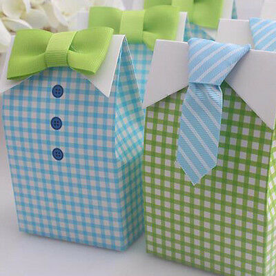 20pcs Bow Tie Birthday Boy Baby Shower Wedding Favor Candy Treat Boxes Gift Bags