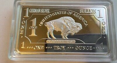 ONE 1 OZ Buffalo German Silver Bullion Art Bar Ingot