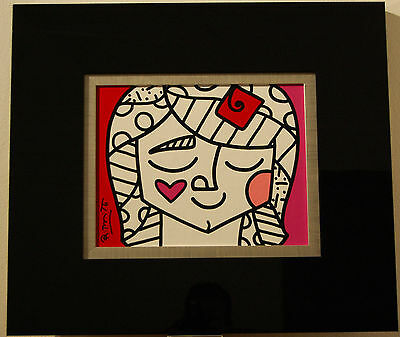 ROMERO BRITTO 28 cm x 35 cm Original Unikat Pop Art Acryl - Girl with Flower!!