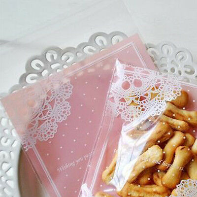 100pcs Pink Lace Biscuit Packaging Bag Clear Cookie Packing Wedding Candy Bags