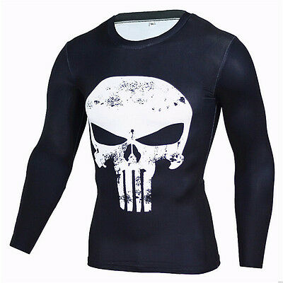 Men Punisher Skull T-shirt Compression Long Sleeve Muscle Shirt Gym Sport Jersey