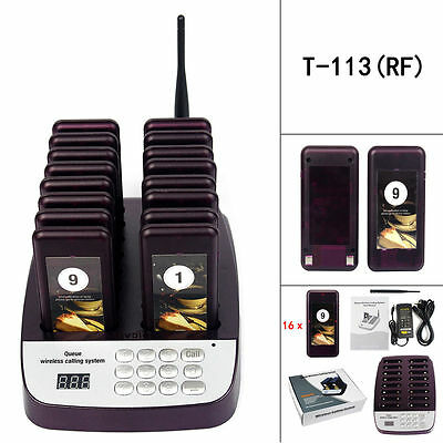 Restaurant Wireless Paging Queuing System 999CH W/ 16X Call Coaster Pager Top