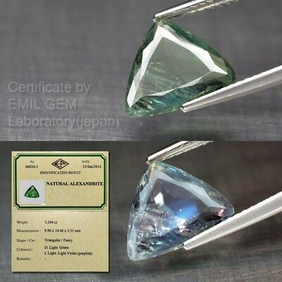 Big Rare 3.29ct 10.5x10mm Triangular Natural Color Change Alexandrite *Certified