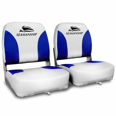 Marine Boat Seats White Blue Set of 2 XL Backrest Swivel Premium Folding Tinny