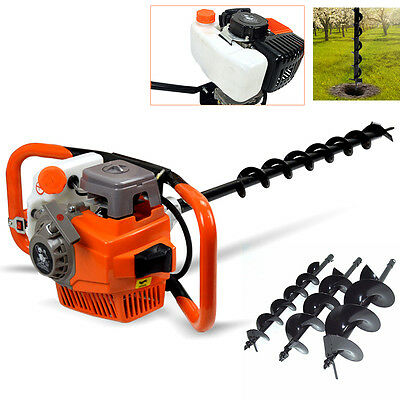71cc Earth Auger Post Hole Digger Gasoline Engine with 3 Drills Extension UK