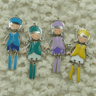 free ship 39 pieces alloy enamel mixed colors girl charms pendant 60x28mm #4492