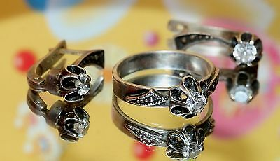 MAGIC Vintage Last century Ring Earrings Silver 875 USSR Antique