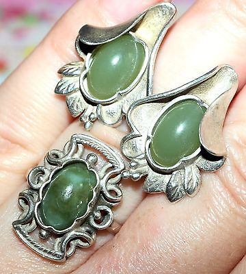 AMAZING Vintage NATURAL jade Nephrite UNIQUE EARRINGS and RING Silver 925 USSR!