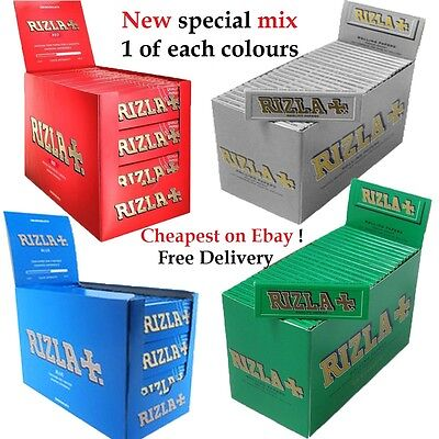 RIZLA Regular Genuine RED GREEN SILVER BLUE Cigarette Rolling Papers ORIGINAL