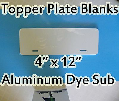 "Gloss White Aluminum Dye Sublimation Auto License Plate Topper Blanks 4"" x 12"""