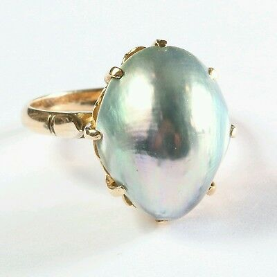 Vtg 14K gold baroque grey pearl cocktail ring diamond Filigree Setting Size 6.5