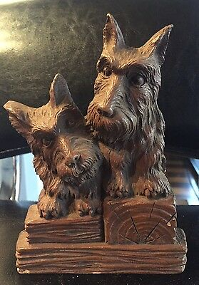 Vintage 1940s Scottie Ornawood Clothes Brush Holder Syroco Scottish Terrier