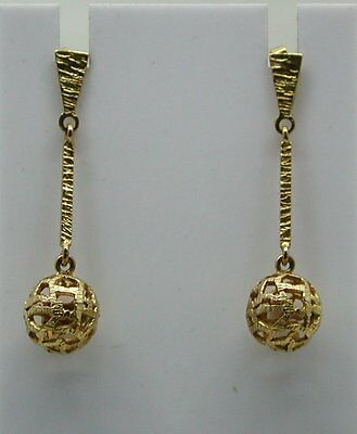 Very Nice Pair Of 9ct Gold Bar And Bead Dropper Earrings