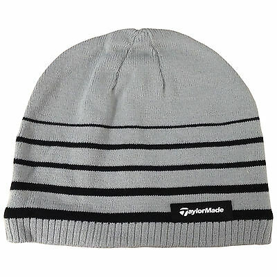 Taylormade Mens Stripe Golf Beanie Hat - New Winter Warm Thermal Tour Grey 2017