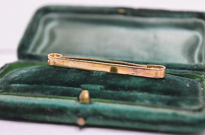 Vintage yellow metal collar pin with art deco design #T164