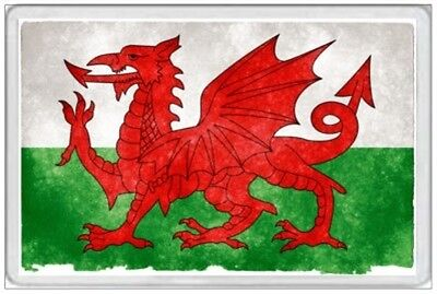 Wales Flag - Jumbo Fridge Magnet - Retro Grunge Tattered Faded Cymru Welsh