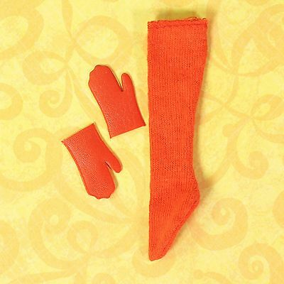 Mod Francie 1262 Fur Out Red Vinyl Mittens Gloves & Single Red Stocking 1966 EUC