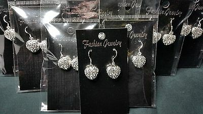 10 Pairs Silver Heart Earrings Joblot Jewellery Valentines Day   FREEPOST