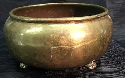 Atq Imperial Russian Brass Double Eagle Head Mark Lion Claw Pot Planter Bucket