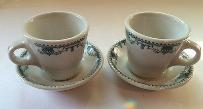 Shenango China RestaurantWare Green Floral Scroll Cups And Saucers Set Of 2