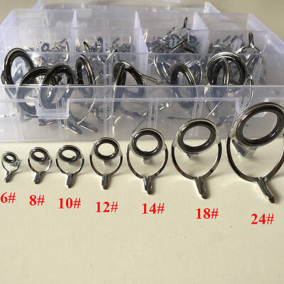 100Pcs Rod Repair Kit Mixed Size Fishing Rod Guides Line Rings For Building