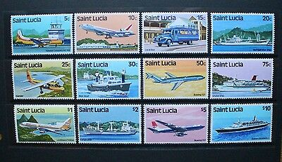 ST LUCIA 1980 Transport Aircraft Ships. Set of 12. Mint Never Hinged. SG537/548.