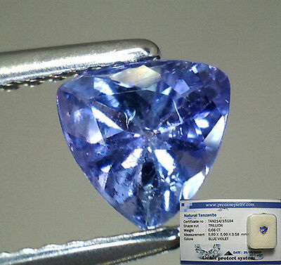 Brillante Tanzanite Naturale Intrattata  In Blister Ct. 0,68 Vs Vvs Trillion