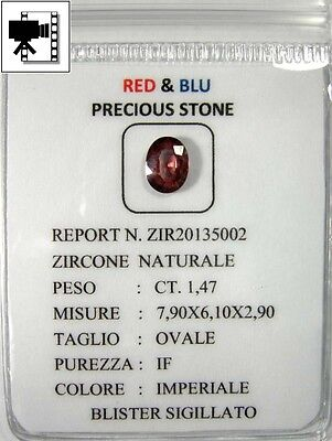Bellissimo  Zircone Intrattato Naturale Ct.1,47  Ovale If