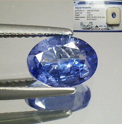 Brillante Tanzanite Naturale Intrattata  In Blister Ct. 1.40  Vs  Vvs Ovale