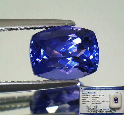 Tanzanite  D-Block In Blister Gemmologico Vvs If 3,40 Cuscino