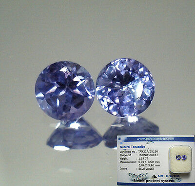 Brillante Coppia Tanzanite Naturale Intrattata  In Blister Ct. 1,14  Vvs