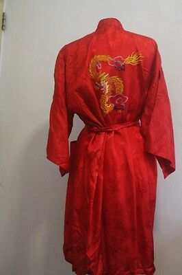 Vintage 1980s Womens KIMONO Red Dressing-gown Satin Dragon Embroidery Size M