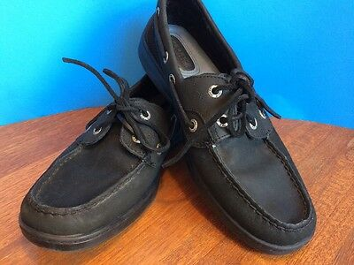 Women's Sperry Top Sider Leather Boat Shoes Size 7 M Black