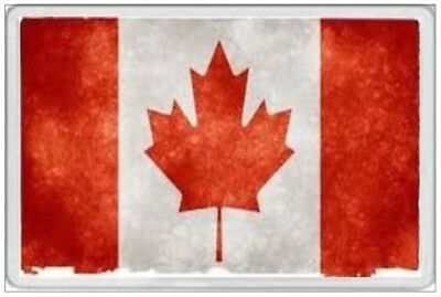 Canada Flag - Jumbo Fridge Magnet - Retro Grunge Tattered Faded Canadian Toronto