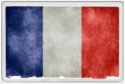 France Flag - Jumbo Fridge Magnet - Retro Grunge Tattered Faded French Paris