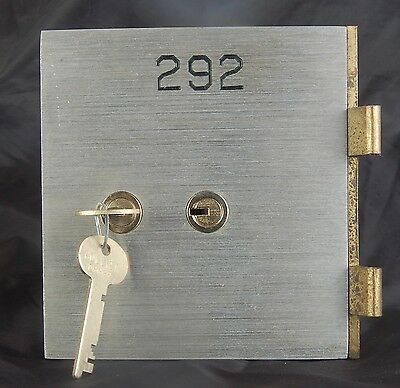 SAFE DEPOSIT BOX DOOR, LOCK, & KEYS! SAFETY BANK VINTAGE ANTIQUE KEY 5x5 OPENS!