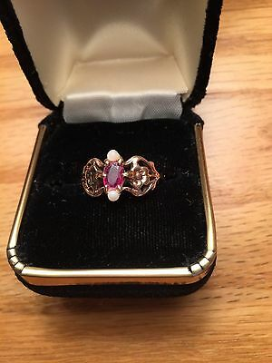 Antique Ruby Seed Pearl Gold Ring