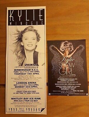 Set Of 2 Kylie Minogue Magazine Tour Dates Press Adverts Clippings