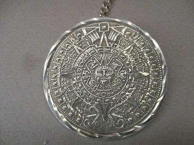 Mexican Sterling Silver Mayan Calender Pendant And Chain