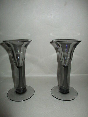 1 Pair Of Wedgwood Cleo Glass Candlesticks -  Frank Thrower