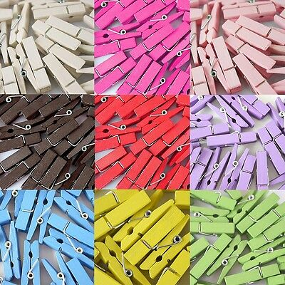 20Pcs Wooden Clothes Pin Paper Craft Clips Colorful Small Wooden Clip