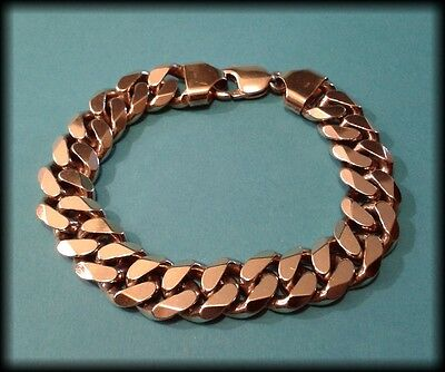 Vintage Men's 925 Solid Silver Gold Plated Heavy Curb Chain Bracelet - 65.6g