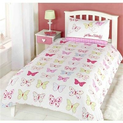 Childrens Girls Butterfly Fly Up High Duvet Cover Quilt Bedding Set, Single