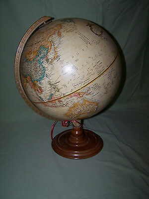 "Vintage Replogle World Classic Globe 12"" Diameter Hardwood Base Raised Relief"