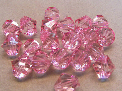 20 Pink Faceted Bicone 14mm Acrylic Beads(W11A1)