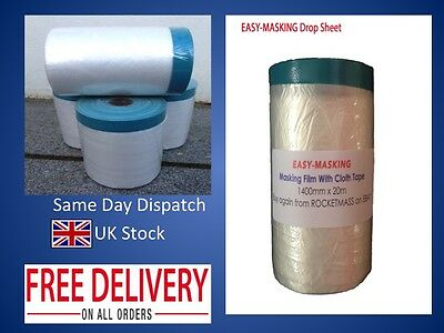 4 ROLLS EASY-MASKING 1400mm Pre-taped Plastic Masking Drop Film dust sheet