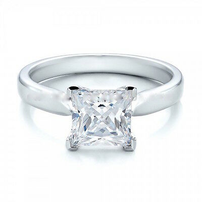 Princess Cut Cubic Zirconia CZ Solitaire Engagement Ring Sterling Silver 925 UK