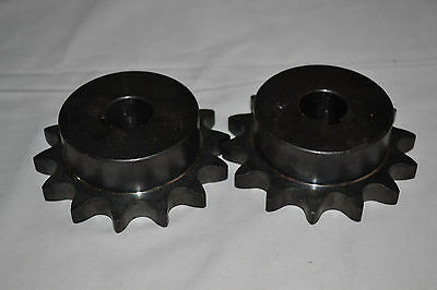 "NEW Pair Martin 60B14 Roller Chain Sprockets 7/8"" Bore 1/4"" Key"