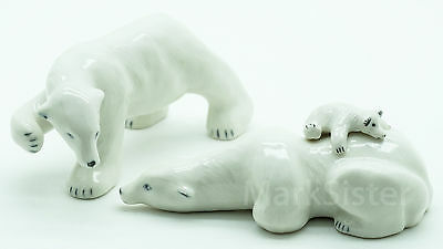 Figurine Animal Ceramic Statue Polar Bear Family - CWB004