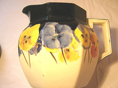 Royal Doulton Pansy Jug/pitcher pattern D4049, 5 in high, octagonal art decco